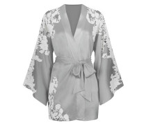 Nayeli Kimono In Silver Silk With Ivory Lace