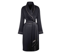 Classic Dressing Gown In Black Silk