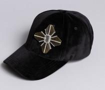 Mütze aus Veloursleder mit Brosche