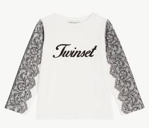 T-Shirt Mit Spitzenprint