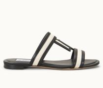 Sandale aus Leder und Canvas