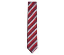 Rote Krawatte mit Regimentstreifen