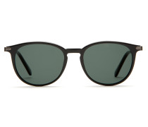 Panto-Sonnenbrille im Retro-Stil in glänzendem Schwarz