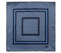 Einstecktuch mit geometrischem Muster in Marineblau und Blau