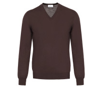 Schokoladenbrauner Pullover mit V-Ausschnitt