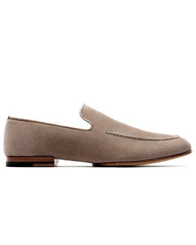Graue Loafers aus Wildleder