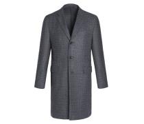 Grauer Mantel aus Kaschmir im Hahnentritt-Muster