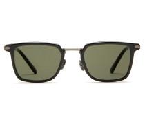 Night & Day rechteckige Sonnenbrille im Retro-Stil in glänzendem Schwarz