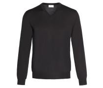Schwarzer Pullover mit V-Ausschnitt
