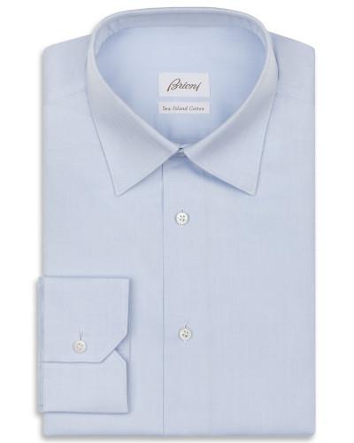 Hellblaues Hemd mit Fischgrätenmuster