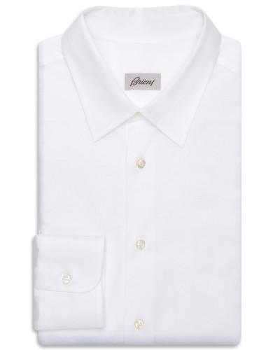 Weißes Jersey-Hemd mit langen Ärmeln