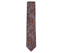 Krawatte mit Paisleymuster in Rostbraun und Blau