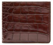 Schmale cognacfarbene Brieftasche aus Krokodilleder