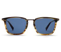 Rechteckige Sonnenbrille in glänzendem Havannabraun mit blauen Gläsern