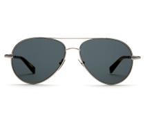 Silberne Pilotenbrille mit grauen Gläsern