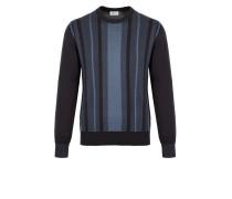 Marineblauer Pullover aus Baumwolle und Seide mit Streifenmuster und zweifarbigen Elementen