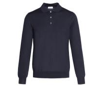 Marineblaues Poloshirt mit langen Ärmeln