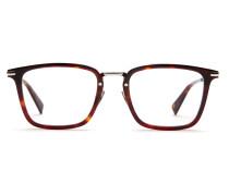 Rechteckige Sonnenbrille in glänzendem Havanna-Dunkelrot mit silbernen Gläsern