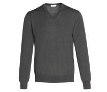 Anthrazitgrauer Pullover mit V-Ausschnitt