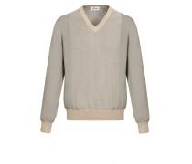 Pullover aus sandfarbenem und grauem Jacquard mit V-Ausschnitt und kleinem Muster