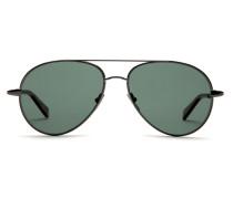 Pilotenbrille aus Ruthenium mit grünen Gläsern