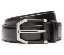 Schwarzer Gürtel aus Kalbsleder mit Leder-Details an der Schnalle