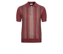 Gestreiftes Poloshirt aus bordeauxroter Baumwolle und Seide mit zweifarbigen, dekorativen Elementen