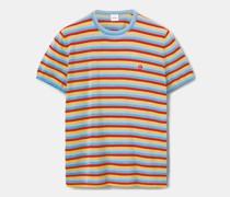 Strick-t-shirt aus baumwolle-seide-leinen-mischung