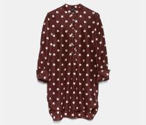 Langes Hemd aus bedruckter Habotai-Seide