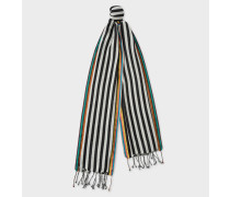 Black And White Stripe Silk-Blend Scarf