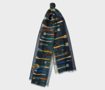 Gradient 'Paint Brush' Print Embroidered Wool Scarf