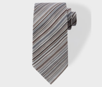 Grey Signature Stripe Silk Tie