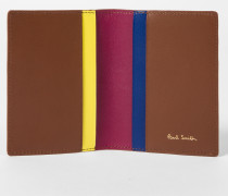 No.9 - Brown Leather Credit Card Wallet With Multi-Coloured Card Slots