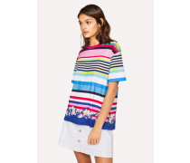 Striped Cotton T-Shirt With Floral Hem