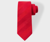 Red Textured Stripe Narrow Silk Tie