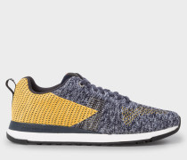 Grey And Yellow 'Rappid' Knitted Trainers