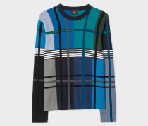 Colour-Block Check Merino Wool-Blend Knitted Sweater