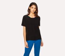 Black Silk Top With Multi-Coloured Trim