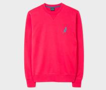 Coral Pink Cotton Embroidered 'Dino' Sweatshirt