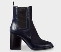 Navy Leather And Calf Hair 'Deva' Boots