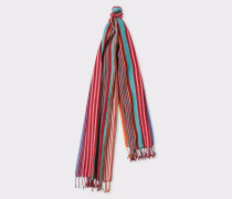 Burgundy Multi-Coloured Stripe Silk-Blend Scarf