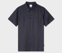 Dark Navy Linen Short-Sleeve Shirt