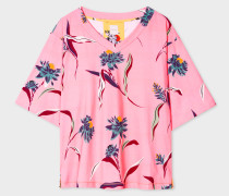 Pink 'Pacific Rose' Print V-Neck Cotton T-Shirt