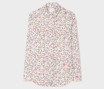 White 'Koi Carp' Print Cotton Shirt