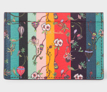 Leather 'Balloon Floral' Print Credit Card Holder