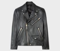 Black Leather Asymmetric-Zip Biker Jacket
