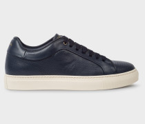 Navy Perforated Leather 'Basso' Trainers