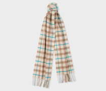 Cream and Taupe Check Cashmere Scarf