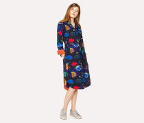 Navy 'Tropical Fish' Print Cotton Shirt Dress