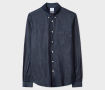Tailored-Fit Dark Navy Denim Button-Down Shirt